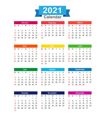 calendar isolated: 2021 Year calendar isolated on white background vector illustration Illustration
