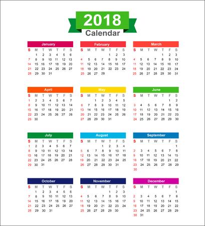 2018 Anno di calendario isolato su sfondo bianco illustrazione vettoriale Archivio Fotografico - 60513835