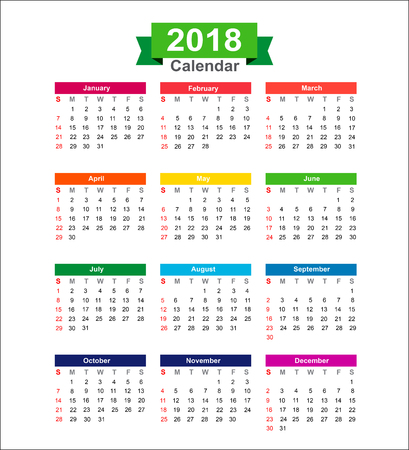 2018 Year calendar isolated on white background vector illustration