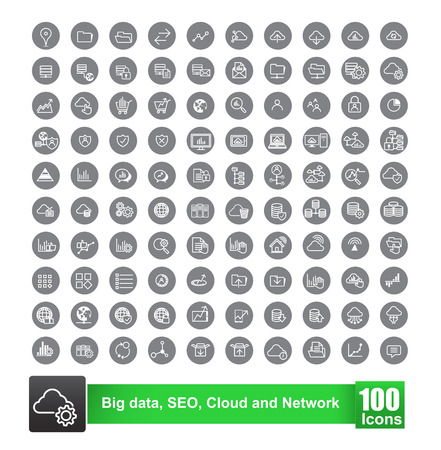 Set of 100 icon with background big data seo cloud and network vector illustration eps10 Illustration