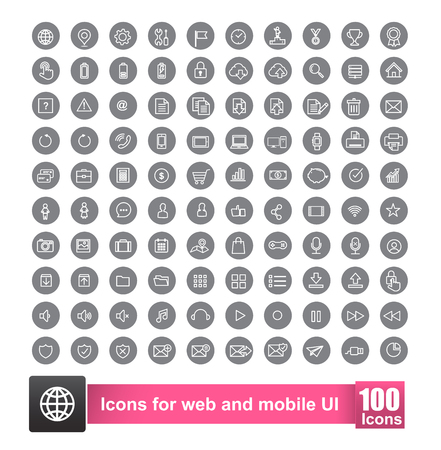 Set of 100 icon with background for web and mobile smart phone ui element vector illustration eps10 Illustration