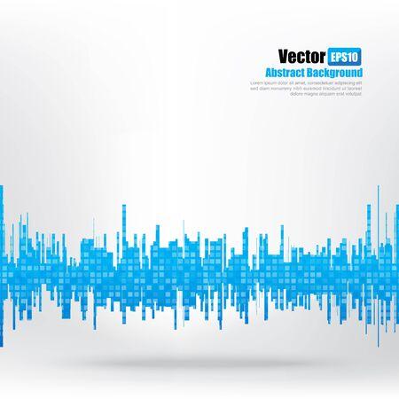 Abstract background Ligth blue equalizer bar and wave element vector illustration eps10 Illustration