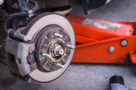 Car disk break after wheel removed