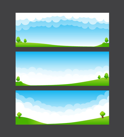 Nature banner template green field blue sky and cloud element vector illustration Illustration