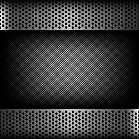dark fiber: Abstract background dark and black carbon fiber with hold polished metal texture vector illustration eps10