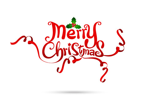 Merry Christmas text free hand design isolated on white background vector illustration eps10