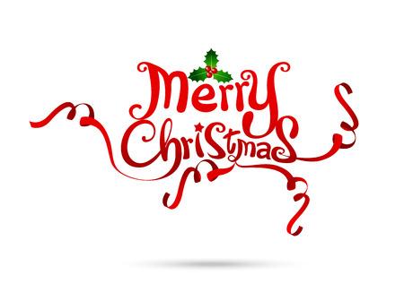 Vrolijk vrij de handontwerp van de Kerstmistekst dat op witte vectorillustratie eps10 wordt geïsoleerd als achtergrond