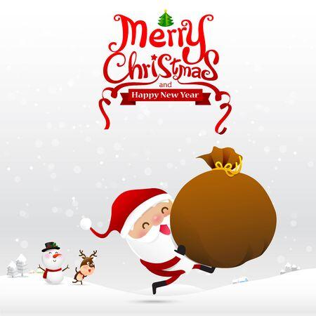 Merry christmas text and santa claus cartoon holding  gift back on snow bakcground vector illustration eps10 Illustration