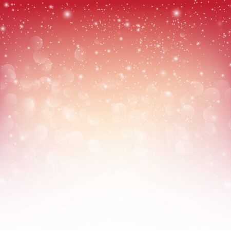 snow fall: Snow fall with bokeh abstract red background  illustration eps10