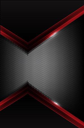 fibra de carbono oscuro y el elemento de superposición de color rojo resumen de antecedentes ilustración vectorial eps10