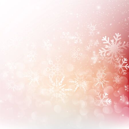 snow fall: Snow fall with bokeh abstract red background vector illustration eps10 Illustration