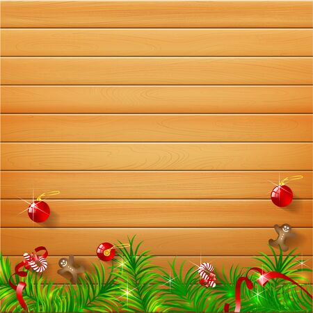 light brown background: Abstract background realistic nature wood with christmas ball and cookie candy vector illustration eps10