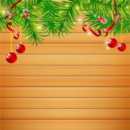 light brown background: Abstract background realistic nature wood with red christmas ball and ribbon vector illustration eps10 003 eps10