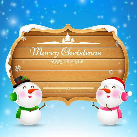 Christmas snowman and snowgirl wooden sign with text merry christmas vector illustration eps 10 Illustration
