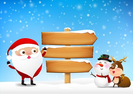 Christmas santa claus and wooden sign blank board and winter snow with copy space