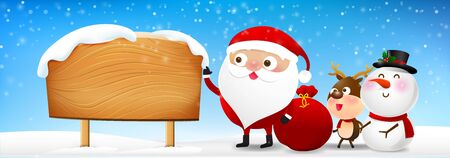 wooden post: Christmas Santa Claus with blank wooden sign background with copy space vector illustration eps10