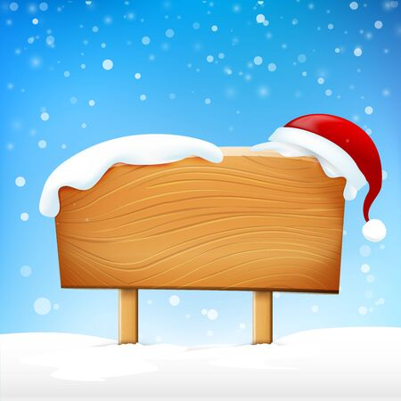 wooden post: Wooden sign blank board and winter snow falling with copy space and Santa hat vector illustration eps 10