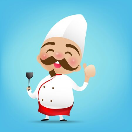 003 Chinese chef cartoon holding the Turner and thumb up with happy smile vector illustration eps10 Illustration