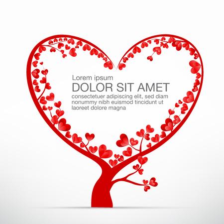 elemento del árbol del corazón para el día de San Valentín y decoración de boda tarjeta de ilustración vectorial eps10