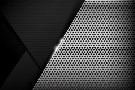 steel sheet: Chrome black and grey overlape and shadow element background texture vector illustration eps10
