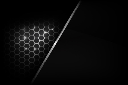 grille: Dark and black with metal honeycomb pattern overlaps and layered vector illustration eps 10