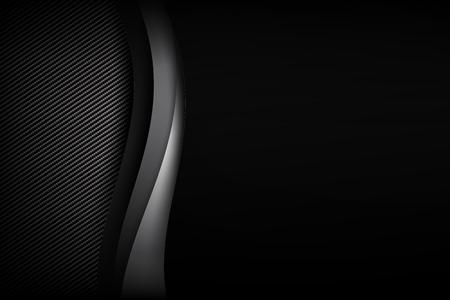 résumé et sombre carbone noir et fibre de carbone avec la courbe et le chevauchement vecteur de trame illustration eps10