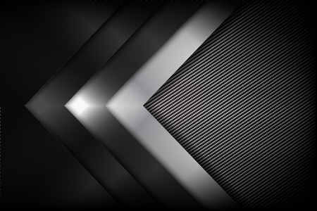 Abstract background dark and black carbon fiber with curve and layered overlap element.