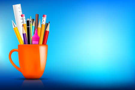 Orange stationary mug with pen pencil eraser marker on dark background for back to school concept vector illustration eps10 Illustration