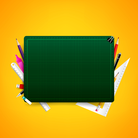cut paper: Blank green cutting board with color pencil pen ruler and stationary element vector illustration, with copy space Illustration