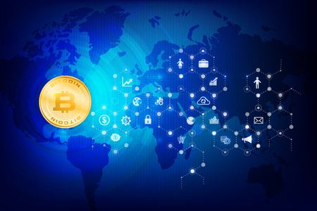 Abstract dark blue background bitcoin concept with print circuit board world map and lighting element vector illustration. Illustration