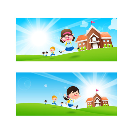 Back to School concept Blank banner template Student kids jumping and running  with happiness and cheerful with Nature Blue sky sunburst copy space and greenfield Background vector illustration Illustration