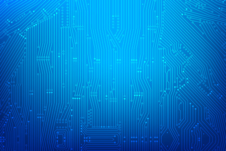 Abstract dark blue background with print circuit board line and dot connection element vector illustration.