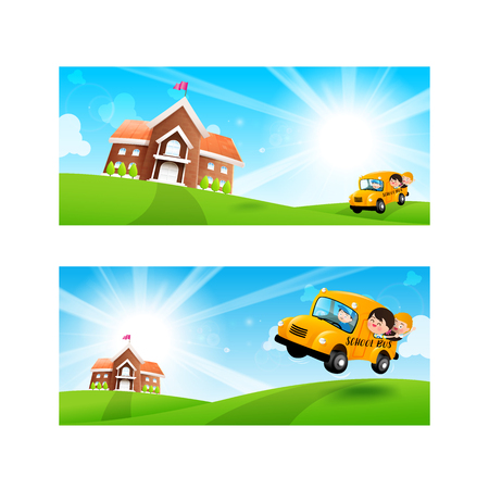Back to School concept Blank banner template Student kids on school bus with happiness and cheerful with Nature Blue sky sunburst copy space and greenfield Background.