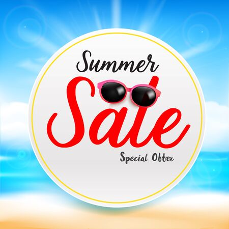 spotlight: Summer sale titile text on white circle frame Abstract blur sand beach  and blue sky background with sunlight and flare element for summer vector illustration eps10 Illustration