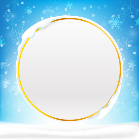 christmas tree illustration: Blank circle frame with copy space and winter snow flake falling into snow floor  and lighting over blue abstract background for winter celebration and christmas promotion template vector illustration Illustration