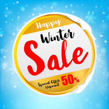 Happy winter sale tex on circle frame with winter snow flake falling into snow floor  and lighting over blue abstract background for winter celebration and christmas promotion template vector illustration