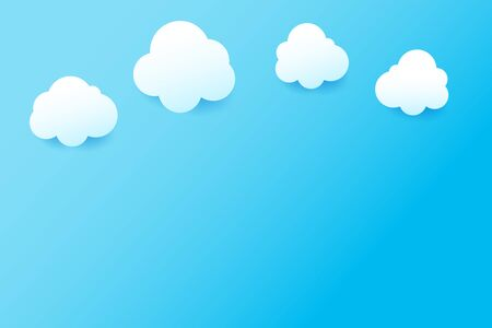 Clean Blue sky and cloud with drop shadow natural background simply geometry element with copy space vector illustration eps10