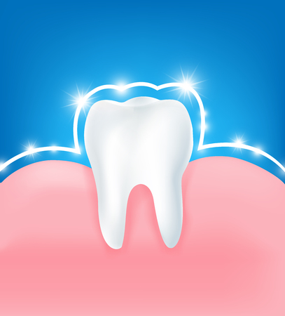 Clean and strong  white tooth with glittering bright aura protection light element on blue background vector illutration