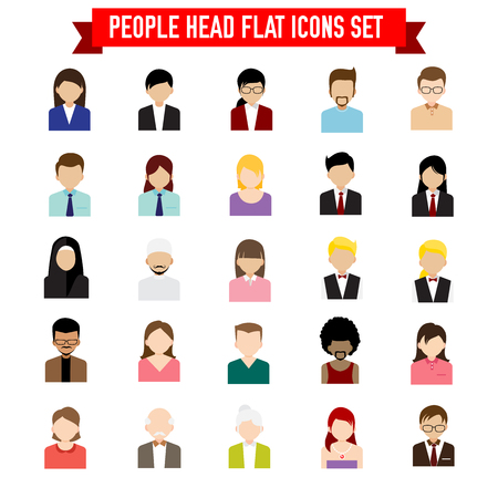 Collection of people head flat icon set isolated on white background vector illustration Illustration