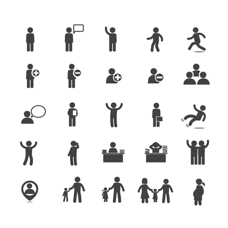 Collection of people in activities icon set isolated on white background vector illustration