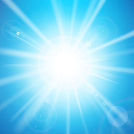 Abstract blue background with sunlight and flare element for summer vector illustration eps10 Stock Photo