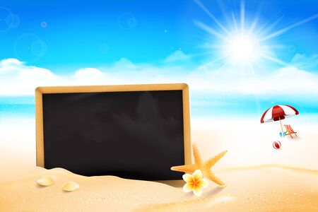 Blank black board on the Sand beach over blur sea and sky with sun light flare and copyspace abstract background vector illustration Stock Photo