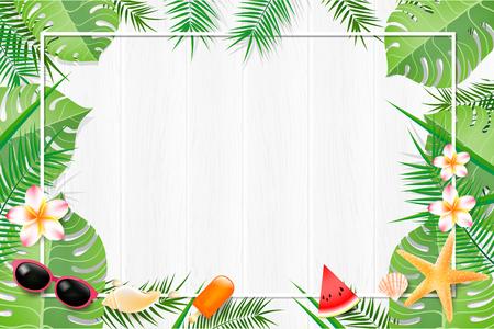 抽象背景空白白色绿叶元素夏季与复制空间矢量插图