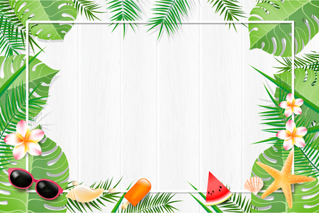 Abstract background blank white green leaf element for summer with copy space vector illustration