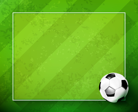 3D Soccer Ball and football greeen grass field background with copy space vector illustration Illustration
