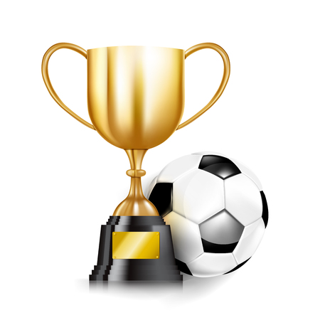 Golden trophy cups and Soccer ball football isolated on white background vector illustration, with copy space