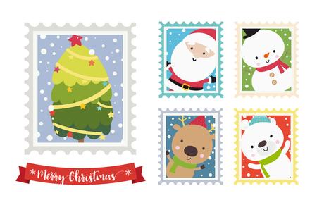 Christmas santa snowman bear and reindeer cartoon stamp frame on white background vector illustration Vectores
