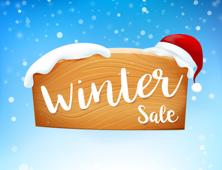 Winter sale calligraphy on wooden sign against snow falling background vector illustration Illustration