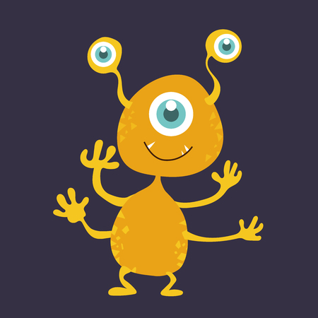 Cute monster cartoon character smile with happiness vector illustration eps10