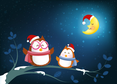 Owl cartoon smile on tree branch twig and falling snow in the winter night backgroud vector illustration 001